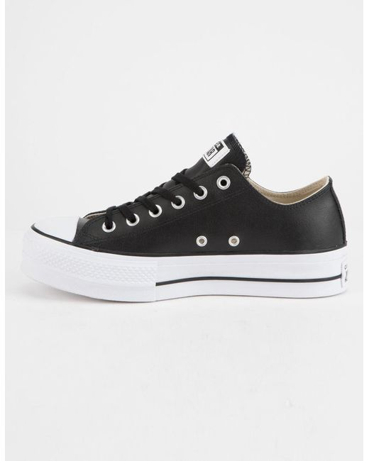 ... Converse - Black Chuck Taylor All Star Lift Faux Leather Womens Low Top  Shoes - Lyst ... f90744eef