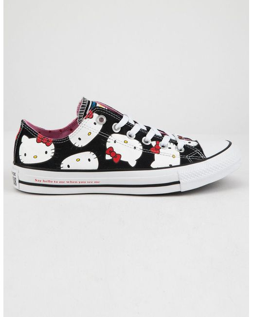 Converse - X Hello Kitty Chuck Taylor All Star Black   Prism Pink Low Top  Womens ... dcc34033f