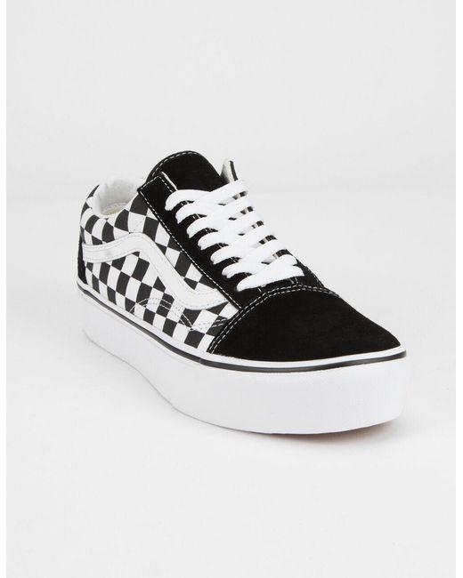 Black Checkerboard Old Skool Platform Womens Shoes