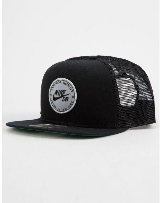 ca0174dac5809 ... wholesale nike black patch mens trucker hat for men lyst 9b770 063e5