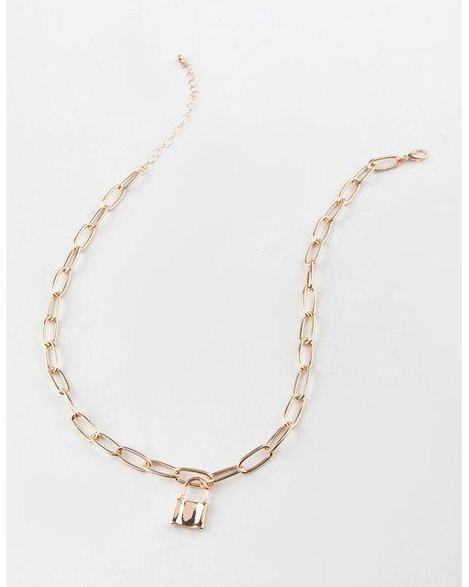 Full Tilt Metallic Lock Chain Necklace