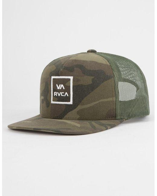 huge inventory 474e3 eaa4a ... sale rvca green va all the way mens trucker hat for men lyst 28802 049ec