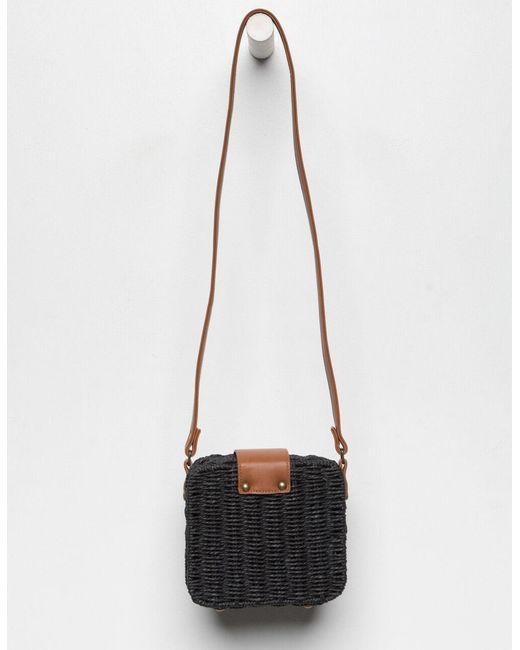 Women S Black Gimmie Some Straw Crossbody Bag