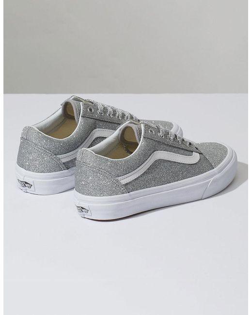 26363afe73e1 ... Lyst Vans - Metallic Old Skool Lurex Silver   True White Womens Shoes  ...