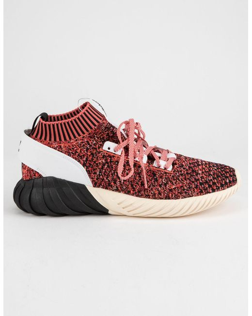 Adidas - Red Tubular Doom Sock Primeknit Burgundy Mens Shoes for Men - Lyst