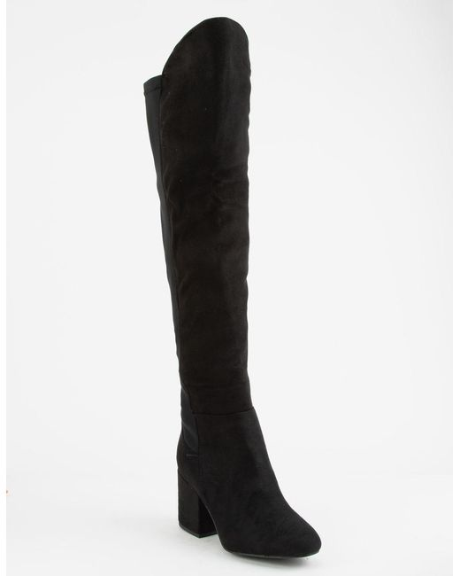 283e5d487e6 Faux Suede Stretch Black Womens Over The Knee Boots