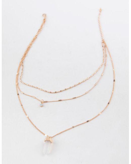 Full Tilt Metallic Chain Crystal Layered Necklace
