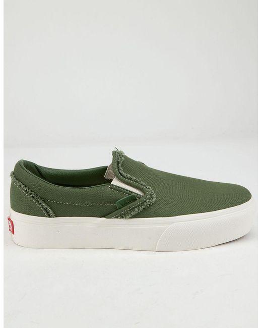 3296a28d2d Lyst - Vans Raw Twill Slip-on Platform Garden Green Womens Shoes in ...