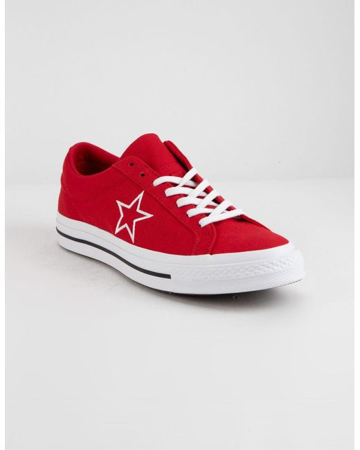 59284d7be583 ... Lyst Converse - One Star Ox Enamel Red   White Low Top Shoes ...