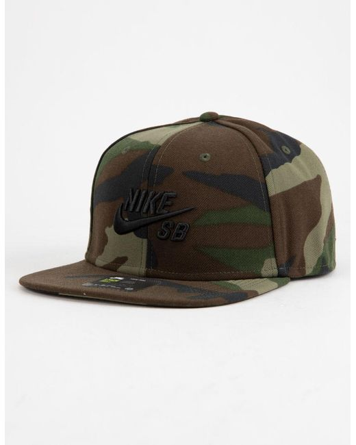 d5c1df04779b4 Nike - Green Pro Camo Mens Snapback Hat for Men - Lyst ...