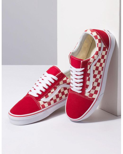 47c77a9456 ... Lyst Vans - Primary Check Old Skool Racing Red   White Shoes for Men ...