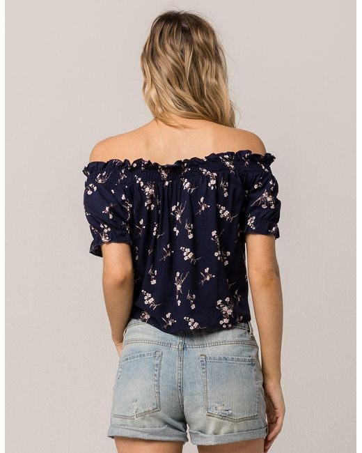 9cbbea5ae341a ... Mimi Chica - Blue Floral Tie Front Womens Off The Shoulder Top - Lyst  ...