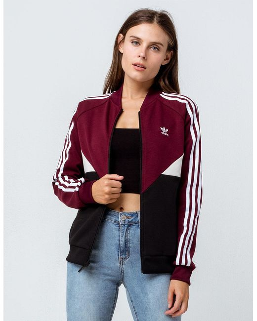 Adidas - Red Clrdo Sst Maroon Womens Track Jacket - Lyst