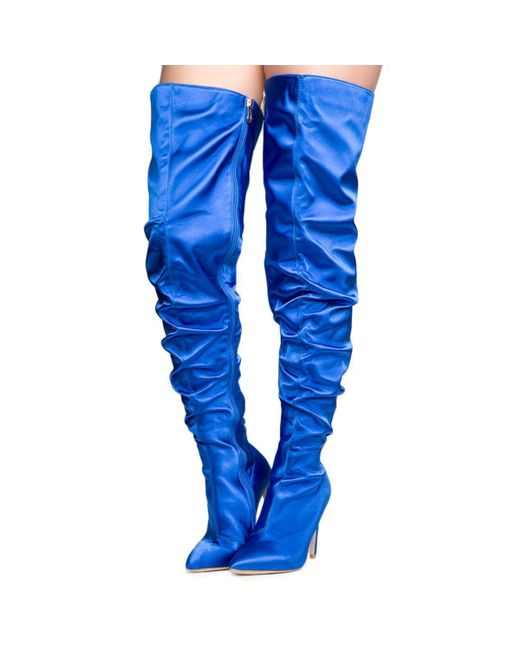 Cape Robbin Kitana 6 Royal Blue High Heel Boots Lyst