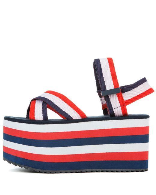 Yru Prizm Red White Blue Platform Sandal Save 13 Lyst
