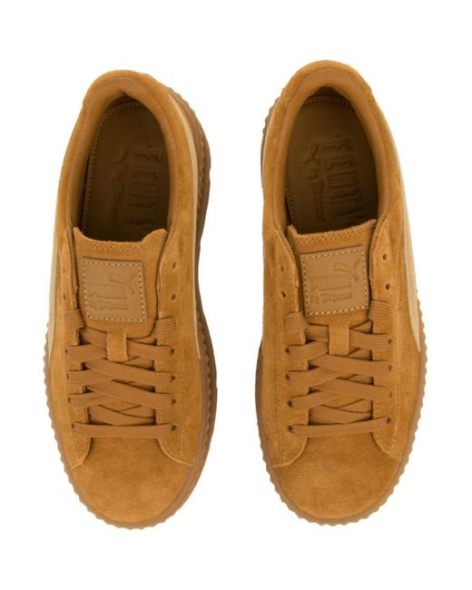 the best attitude fb2fa f5fd1 Women's Brown Cleated Creeper Suede Sneaker