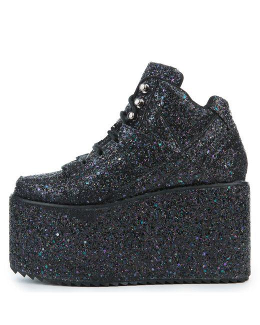YRU Qozmo Glitter Black Platform Sneakers