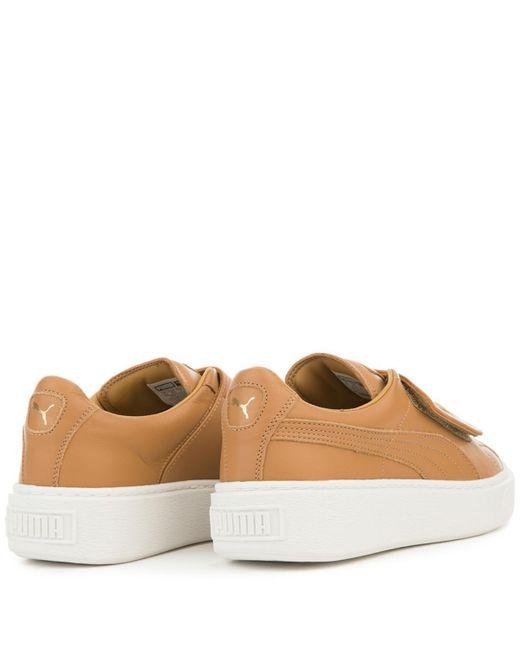 e66cffd8a075 ... PUMA - Brown Basket Platform Big Strap Cinnamon Sneaker - Lyst ...