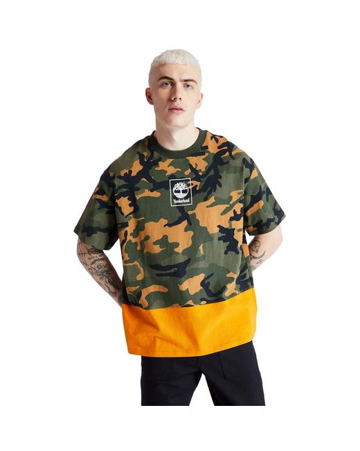 T-shirt Camouflage Avec Logo Timberland pour homme en coloris Green