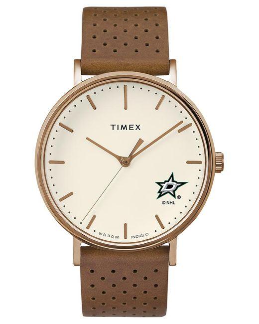 Timex Metallic Watch Unisex Grace Dallas Stars Chrome/tan/white