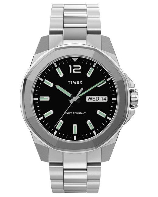 Timex Metallic Essex Avenue 44mm Stainless Steel Bracelet Watch Silver-tone/stainless Steel/black for men