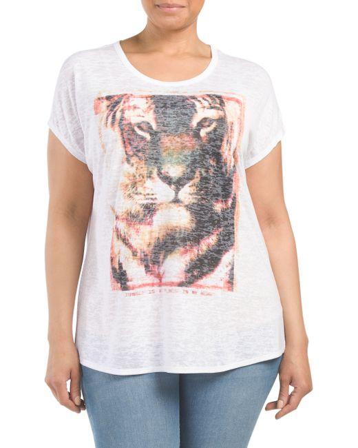 Tj maxx plus camo burnout jungle lion screen tee in white for Tj maxx t shirts