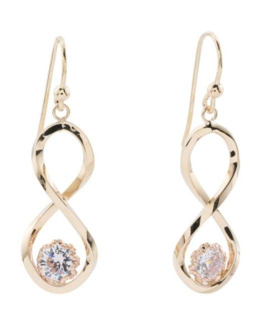 Tj Maxx | Metallic Made In Italy 14k Gold Infinity Cubic Zirconia Earrings | Lyst