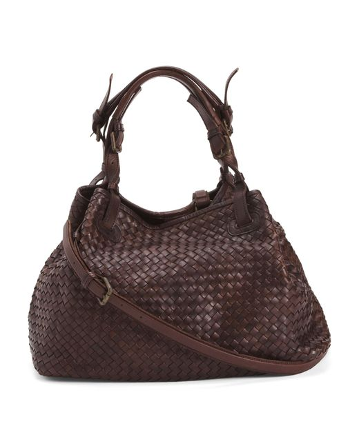 Tj Maxx Brown Made In Italy Woven Leather Tote