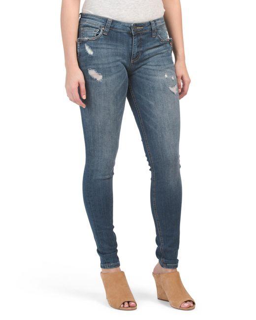 Tj Maxx Blue Mia Toothpick Skinny Notch Front Jeans