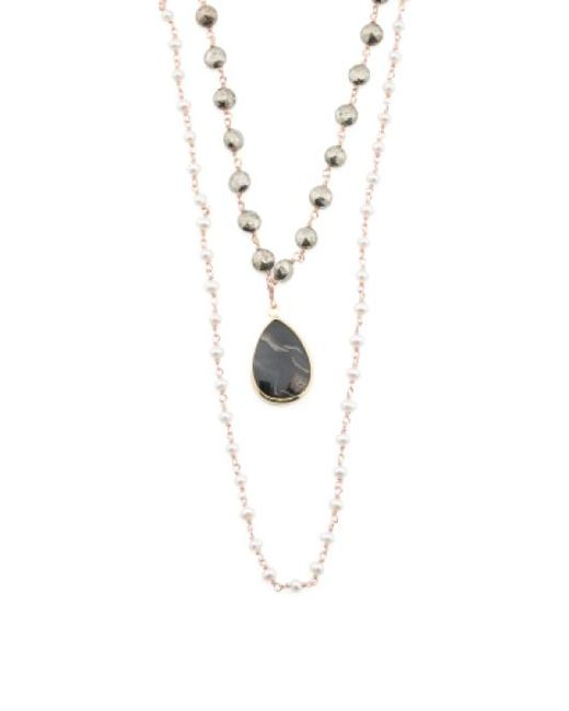 Tj Maxx | Metallic Made In India Sterling Silver Pyrite Pearl Druzy Necklace | Lyst