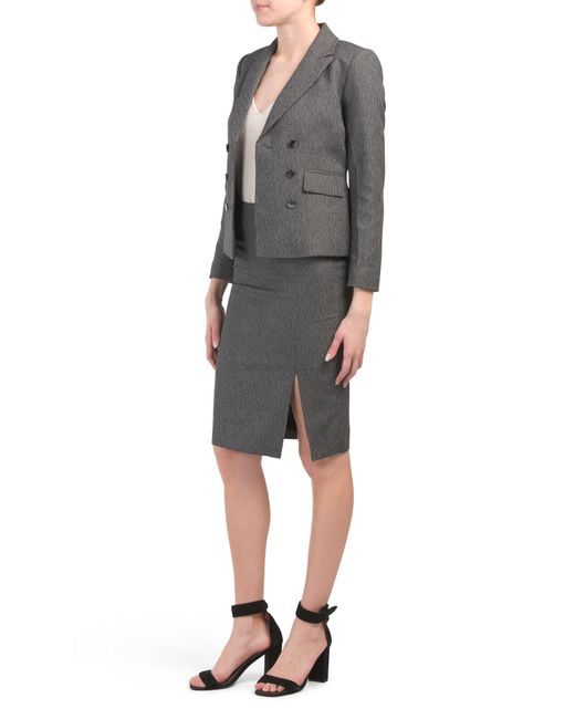 Tj Maxx Black Petite Double Breasted Skirt Suit