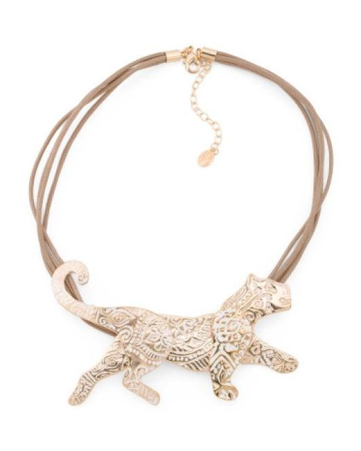 Lyst - Tj Maxx Scroll Etched Tiger Necklace On Cord in ...