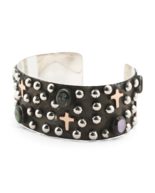 Tj Maxx | Metallic Made In Mexico Sterling Silver Abalone Cross Bracelet | Lyst