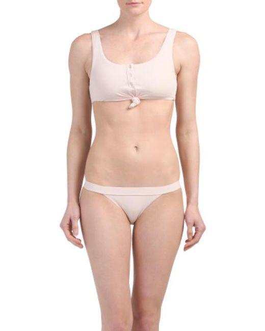 Tj Maxx - Pink Knotted Rib Bralette Bikini Set - Lyst
