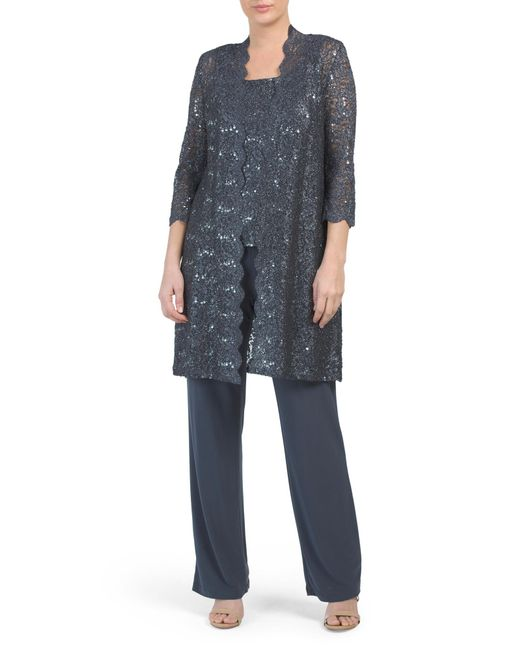 Tj Maxx Multicolor Made In Usa Lace Midi Jacket Pantsuit