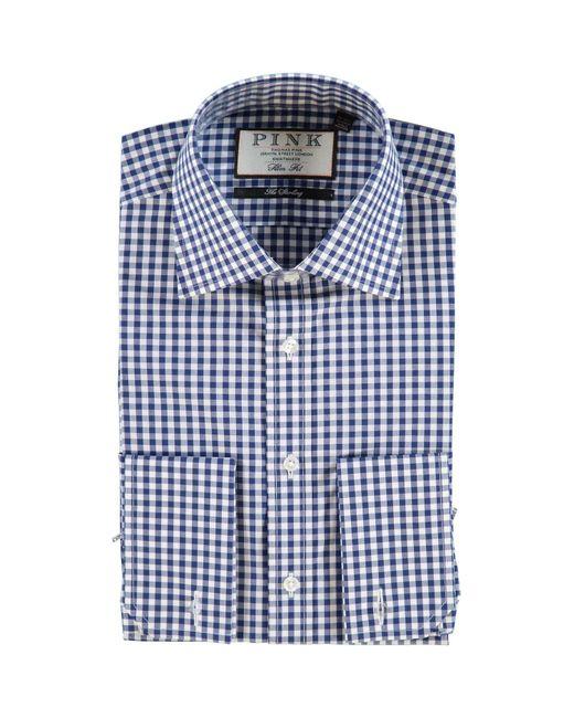 TK Maxx brand Blue Slim Fit Gingham Shirt for men