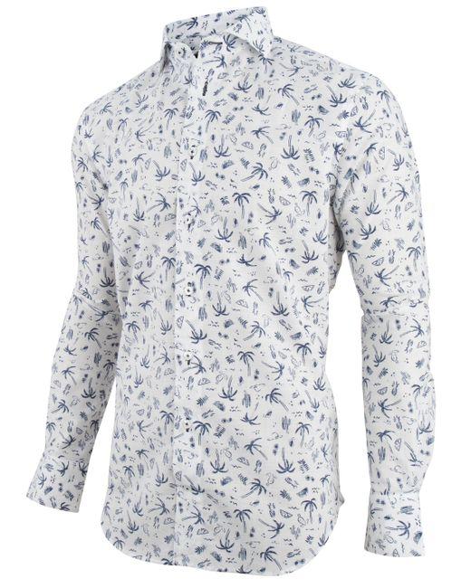 Cavallaro Overhemd Print Palma 1091021-10003 in het White voor heren