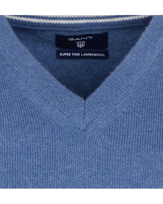 Gant Super Fine Lambswool V-neck 86212/489 in het Blue voor heren
