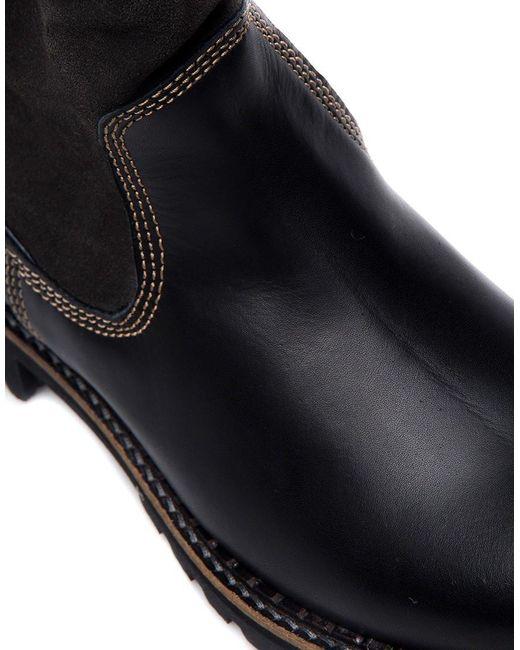 Tamaris Laars Tough Leather Fake Fur Lining Boots in het Black