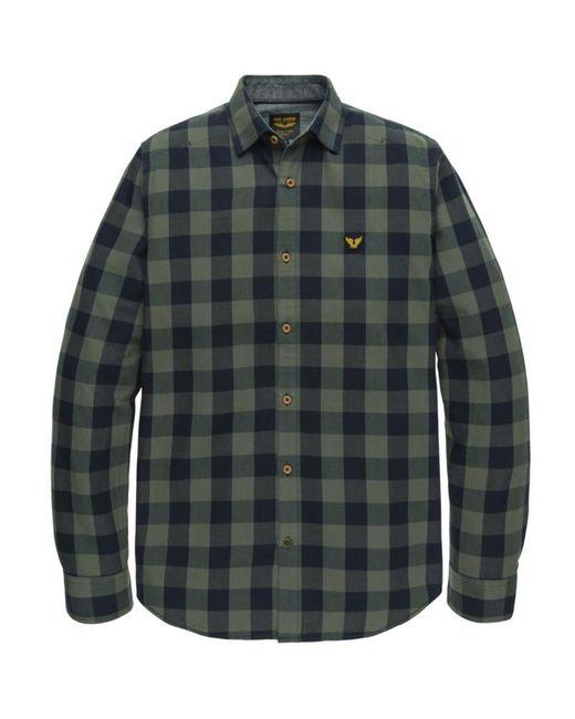 PME LEGEND Psi205228-6026 Long Sleeve Twill Shirt Check in het Green voor heren