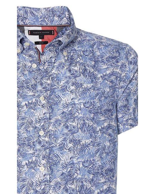 Tommy Hilfiger Casual Overhemd Met Korte Mouwen in het Blue voor heren