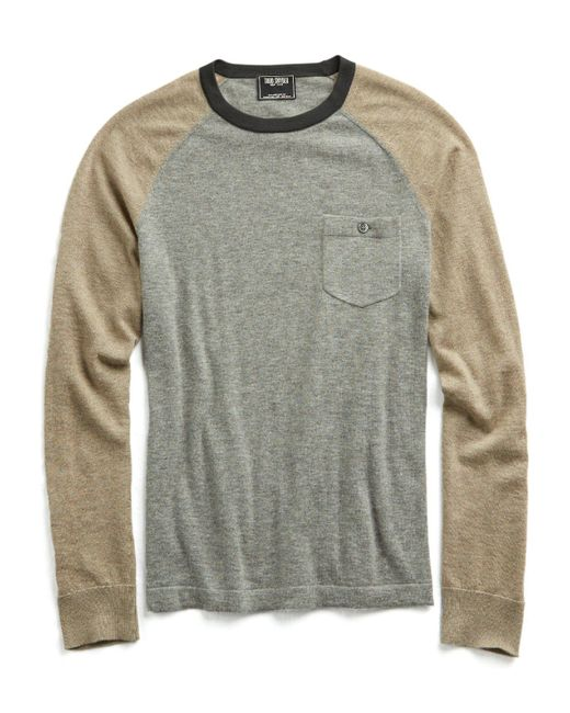 Todd Snyder - Gray Cashmere Colorblock T-shirt Sweater for Men - Lyst