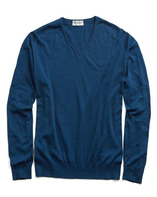 John Smedley - Blue John Smedley Sea Island Cotton Woburn Sweater In Indigo for Men - Lyst