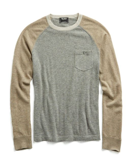 Todd Snyder   Gray Cashmere Colorblock T-shirt Sweater for Men   Lyst