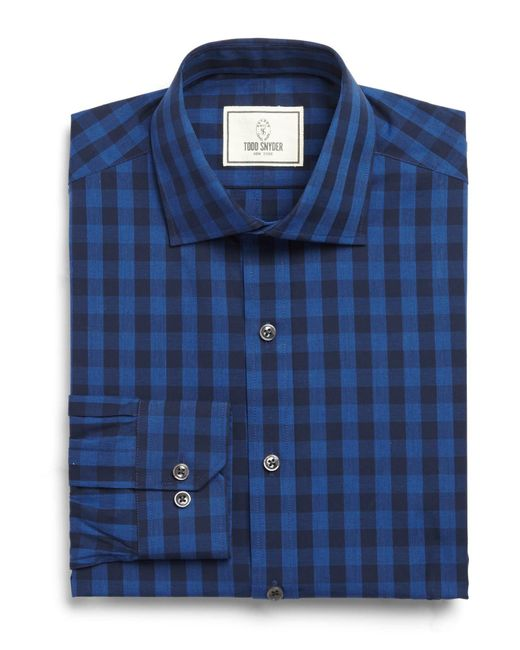 Todd Snyder | Blue Spread Collar Dress Shirt In Navy Plaid for Men | Lyst