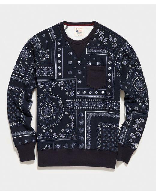 Todd Snyder Blue Bandana Print Sweatshirt for men