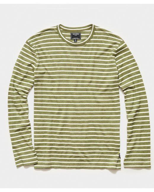Todd Snyder Green Long Sleeve Japanese Nautical Stripe Tee for men