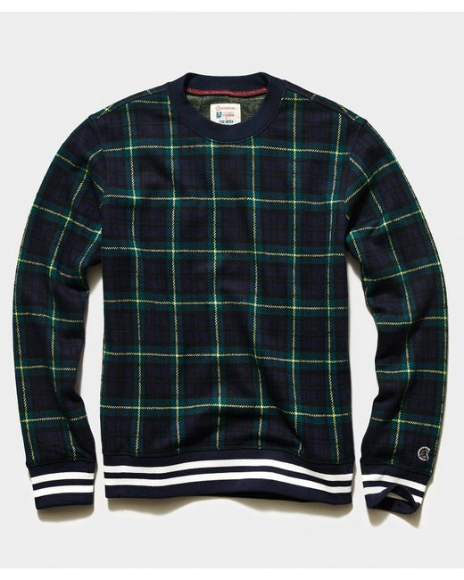 Todd Snyder Blue Champion Wool Blackwatch Crewneck Sweatshirt for men