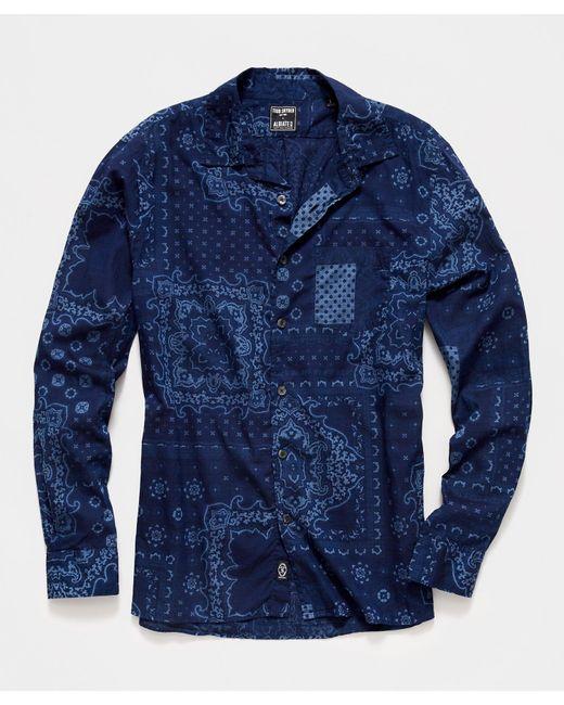 Todd Snyder Blue Italian Indigo Bandana Print Camp Collar Shirt for men
