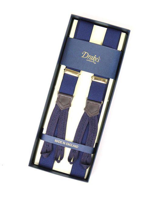 Drake's | Blue Drake's Navy Suspenders for Men | Lyst